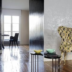 Elitis Mille Millions industrial look vinyl wallpaper Home Staging, Home Design, Vinyl Wall Covering, Vinyl Wallpaper, Industrial, Inspiration, Room, Furniture, Home Decor