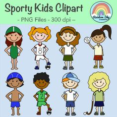 Sporty Kids Clipart - 8 Sporty kids graphics are included in the download. Also included 8 black line originals as shown in the cover page. All graphics are PNG files at 300 dpi for clear, crisp printing with transparent backgrounds. **For personal or commercial use** ~ Rainbow Sky Creations ~