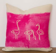 "Flamingo Pillow Cover- 16""x16"" Decorative throw pillow cover with Pink flamingo design"