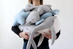 Whales, Seahorses and Stars in light gray and baby blue velour. Love this combination! Check out my shop for more cute and cuddly pillows Whale Pillow, Star Cushion, Nautical Nursery Decor, Cute Whales, Star Nursery, Star Decorations, Baby Pillows, Kidsroom, New Toys