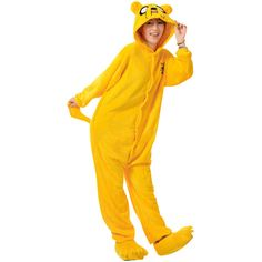 Womens Hooded Onesies Dog Pajamas Animal Costume Yellow ($25) ❤ liked on Polyvore featuring yellow
