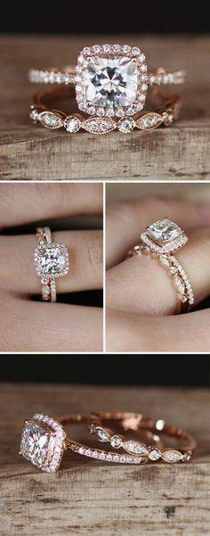 Rose gold engagement wedding ring set #weddingring