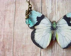 Butterfly Necklace, Moth Pendant, Blue Butterfly, Blue, white, Black, Butterfly Pendant