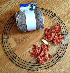 easy burlap wreath tutorial, crafts, wreaths, Making a burlap wreath is easier than you think You will need burlap ribbon a wire wreath form and fall embellishments