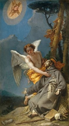 The Stigmatization of Saint Francis ~ Giovanni Battista Tiepolo (Venetian, Prado Museum, Madrid. Francis Of Assisi, St Francis, Catholic Art, Catholic Saints, Religious Images, Religious Art, Jean Antoine Watteau, St Clare's, Francisco Goya
