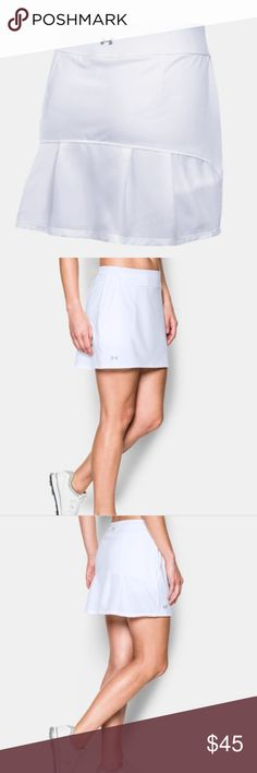 """NWT White Under Armour Skort w/pockets Fitted: Next-to-skin without the squeeze.  I'd say fits a little larger than expected Super-soft performance knit construction delivers lasting comfort Built in compression shorts for relentless coverage & support Material wicks sweat & dries fast 4-way stretch construction moves better in every direction Wide, flat waistband with hidden storage pocket Durable pleated woven back panel Open hand pockets & back zip storage pocket 14.5"""" hem length  Inseam…"""