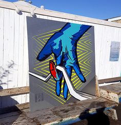 "Die ""Selfmade crew"" Logo- Tape Art auf Rooftop Gallery Jam- Berlin 2016  Street Art überden Dächern"