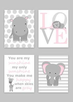 Zoo Nursery Decor, Elephant Nursery, Zoo Baby Room, Hippo Nursery, Safari Nursery, Jungle Decor, Lion, Giraffe, Baby Girl, Baby Boy, Canvas by SweetPeaNurseryArt on Etsy