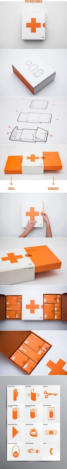 Concept: First Aid Kit - Compartments, Pull out drawers, outer sleeve