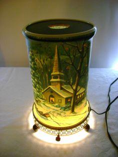 1957 CHURCH MILL WINTER SCENE MOTION TV LAMP LIGHT