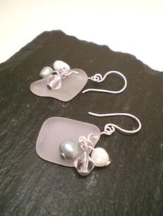 DIY Sea Glass doesn't have to be used only in your home...get creative like these Seaglass Symphony Earrings - Pearl