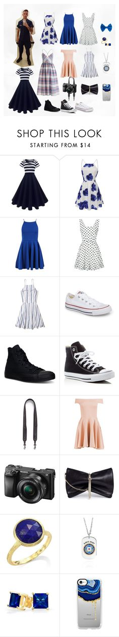 Coast Guard Girlfriend, Fleet Week by otterrrrrrr on Polyvore featuring WithChic, Boohoo, Hollister Co., Converse, Jimmy Choo, Coach, Marco Bicego, Bling Jewelry, Casetify and Sony