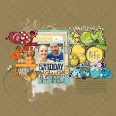 loving the #rainbow of color in this #scrapbook page from Melissa at DesignerDigitals.com