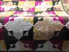 Past and Present pattern by Kim Brackett in Scrap Basket Surprises. Pieced by Sherry Reeb and quilted by Barb.
