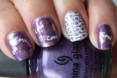 China Glaze Virtual Violet and IDK, both holographic purpleRed Angel IP RA114 using special polish white, on the rest on my fingers I did the lips from Bundle Monster BM02 with China Glaze Admire and...