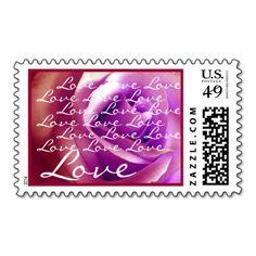 RED & PURPLE SUNSET Wedding LOVE Rose  Stamp #wedding #stamps #love #marriage #romance #bride #groom #jaclinart #postage #red #purple #sunset #rose