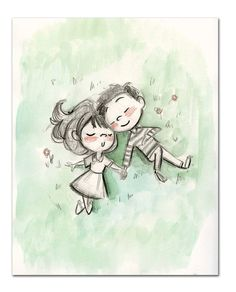 cartoon drawings Sleepy Picnic - Sleepy Picnic is an x print printed with a professional printer on textured paper. The original is a pencil Couple Sketch, Cute Couple Drawings, Couple Art, Couple Painting, Art And Illustration, Illustrations, Cartoon Drawings, Art Drawings, Pencil Drawings