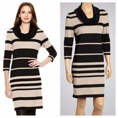 ⚡️EUC⚡️SANDRA DARREN Cowl Neck 3/4 Sleeve Dress A gorgeous three quarter sleeve dress with a cowl neck and striped color block style featured on the front. The material is stretchy 76% Rayon 18% Polyester 6% Spandex. Like new since it was only worn twice. Sandra Darren Dresses