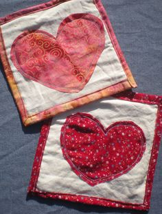 Folk Art Mug Rugs hearts Vintage Red Calico, and bright Pink with gold spirals repurposed fabrics eco-friendly  fabric coasters vegan by elainenthesun on Etsy