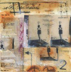 Original Encaustic Painting, Collage art, The Boxer - by Angela Petsis. $55.00, via Etsy.
