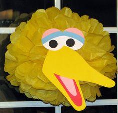 "Yellow Bird tissue paper pompom kit, inspired by ""Big Bird"" from Sesame Street. $9.99, via Etsy."
