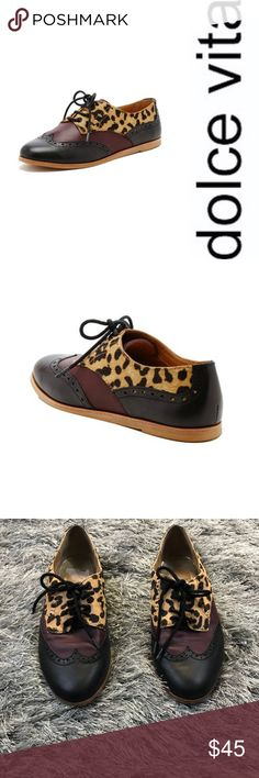 Dolce Vita Oxfords Dolce Vita Leopard Adderly Oxfords  Good condition  Slight wear on inner heel (as shown in picture)  No rips tears or stains   Buy 2 items get the 3rd half off , bundle discounts & accepting all reasonable offers . DV by Dolce Vita Shoes Flats & Loafers