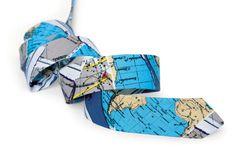 Map Blue Tie / Men's skinny tie / Wedding Ties by TheBestBoysTies