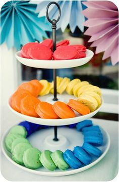 Don't these look like expensive rainbow macarons? They're actually just adorable little Oreo cookies dipped in colored white chocolate! Most guests with a sweet tooth will like either, so you can s...