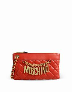 Moschino Biker Jacket's Women Red Leather Clutches Wallet - moschinooutlet2015.com