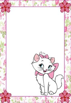 Stationary | Notepaper | Kitty | Printable | Stationary | WallPaper | Marie Emo Disney, Disney Cats, Free Printable Stationery, Printable Frames, Aristocats Party, Disney Frames, Marie Cat, Photo Frame Design, Hello Kitty Wallpaper