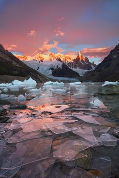 A red sky and shards of ice near Cerro Torre Patagonia [10661600] by Jane Wei #reddit