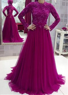 Delicate Tulle High Collar Neckline A-line Arabic Islamic Wedding Dresses With Beaded Lace Appliques