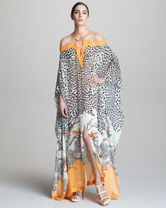 Long Printed Cold-Shoulder Caftan by Roberto Cavalli at Neiman Marcus. I could so love this...if it were not $1600!  ...why is my taste so expensive!