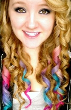 Pink Blue & Purple Dip Dyed Hair :) super cute but I don't have the guts to do it