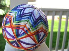 SALE - ornament - hand embroidered thread ball - japanese temari decorative ball - home decor - rainbow bash