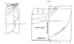 Molde e instrucciones para la falda con cascada. Hermosa!.