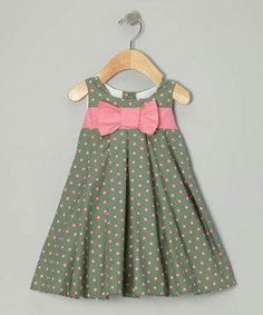 Two great colors on one great dress. Pink and green spots pop off a swing silhou… Two great colors on one great dress. Pink and green spots pop off a swing silhouette for a garden-fresh look and feel. Little Dresses, Little Girl Dresses, Girls Dresses, Baby Outfits, Toddler Outfits, Kids Outfits, Toddler Dress, Baby Dress, Dot Dress