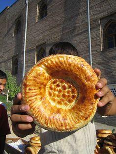 ☮ Travel Asian Traditional Uzbek bread, Tashkent bazaar