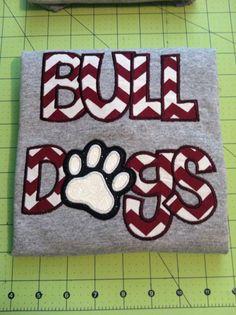 BullDogs with paw Appliqued Shirt School Spirit Wear, School Spirit Shirts, School Shirts, Cheer Shirts, Vinyl Shirts, Embroidery Applique, Embroidery Designs, Bulldog Mascot, Football Crafts