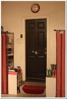 the doors, garage organization, black doors, garage doors, hous, shelv, painted doors, organization ideas, curtain