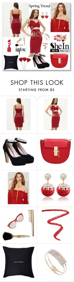 """""""Shein Burgundy Spaghetti Strap Cut Dress"""" by ludmyla-stoyan ❤ liked on Polyvore featuring Vanessa Mooney, Marni, NARS Cosmetics, Kate Spade, red, dress, burgundy and shein"""