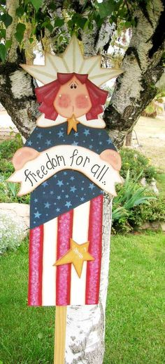 Lady Liberty Wooden Tole Painted Yard art