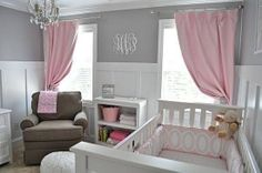 Gray / pink baby room- this is what im talking about!