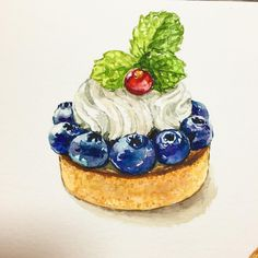 ideas fruit drawing watercolor food illustrations for 2019 Food Design, Desserts Drawing, Sweet Drawings, Dessert Illustration, Food Sketch, Watercolor Food, Food Painting, Food Drawing, Food Illustrations