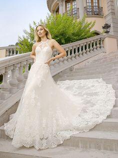 Lace high neck halter wedding dress Moonlight Couture H1346 #LaceWeddingDress #Wedding #LongTrain