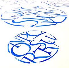 These are examples of my studies of Roman Capitals with flat brush and acrylic paint