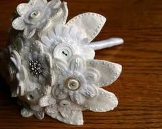 Hand embroidered, felt wedding flowers