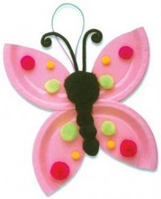 Paper plate crafts - bright summer butterfly, I would glue the wings & body on for them and let the kids decorate