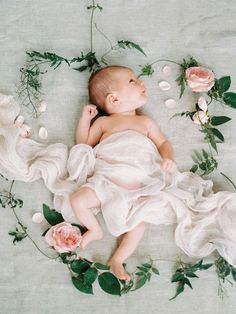 Dreamy floral newborn photos