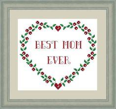 Mother's Day cross stitch, Modern cross stitch PDF pattern, Best Mom Ever, Сross stitch design, Cros Wedding Cross Stitch Patterns, Modern Cross Stitch Patterns, Cross Stitch Designs, Cross Stitch Heart, Cross Stitch Kits, Sewing Patterns For Kids, Personalized Wedding Gifts, Embroidery Kits, Best Mom